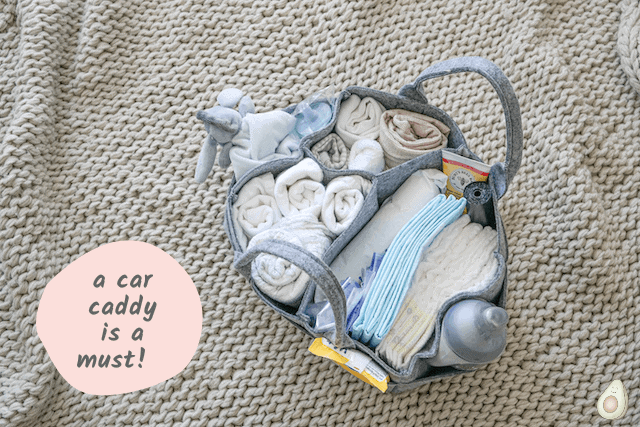 car kit for new baby caddy with diapers new mom hack