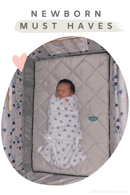 Newborn Baby Fleece Swaddle in Pack N Play Newborn Must Haves