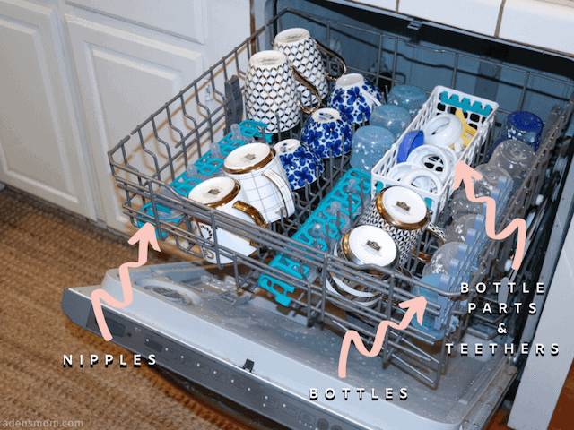 dishwasher sanitize baby bottles basket new mom hack