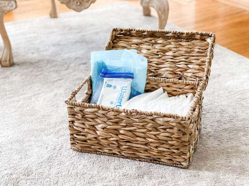 woven box with diapers wipes supplies new mom hack