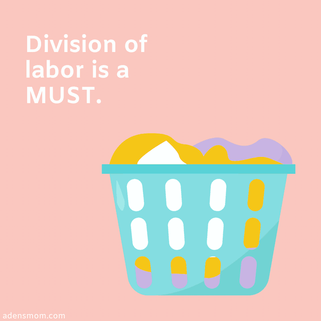 survival tips new moms division labor laundry