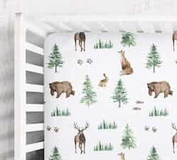 foxes rabbits bunnies bears deer woodland forest animals crib sheet empoweringdecor